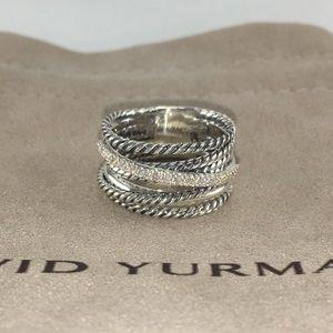 David Yurman Crossover Ring with Diamonds Size 6